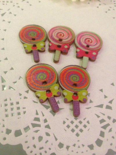 10 bottoni in legno a forma di lecca lecca