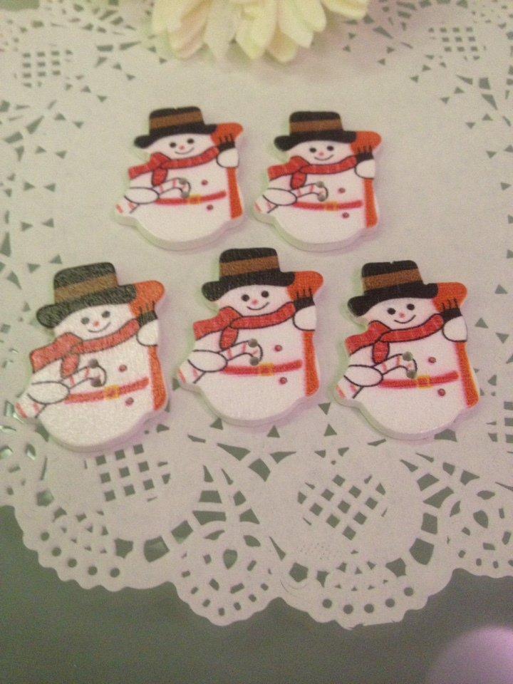 NATALE CREATIVO 5 bottoni in legno a forma di pupazzo di neve