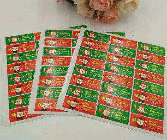 NATALE CREATIVO 1 foglio con 24 etichette chiudi pacco adesive