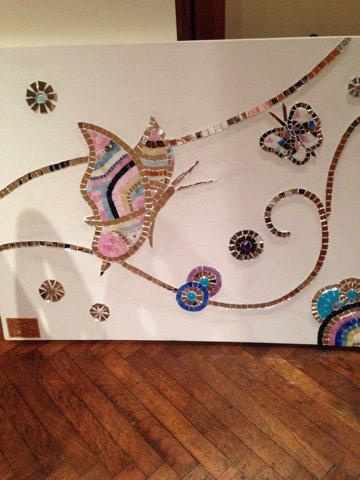 Pannello in mosaico su tela FARFALLE