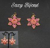 STARFLOWERS: Orecchini in Tessitura di Perline con Rivoli Swarovski