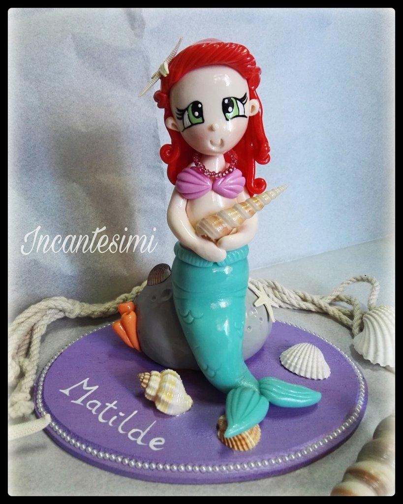 Cake Topper Sirenetta, cake topper compleanno bimba, regalo per bambina, cake topper mare, sirena e pesci