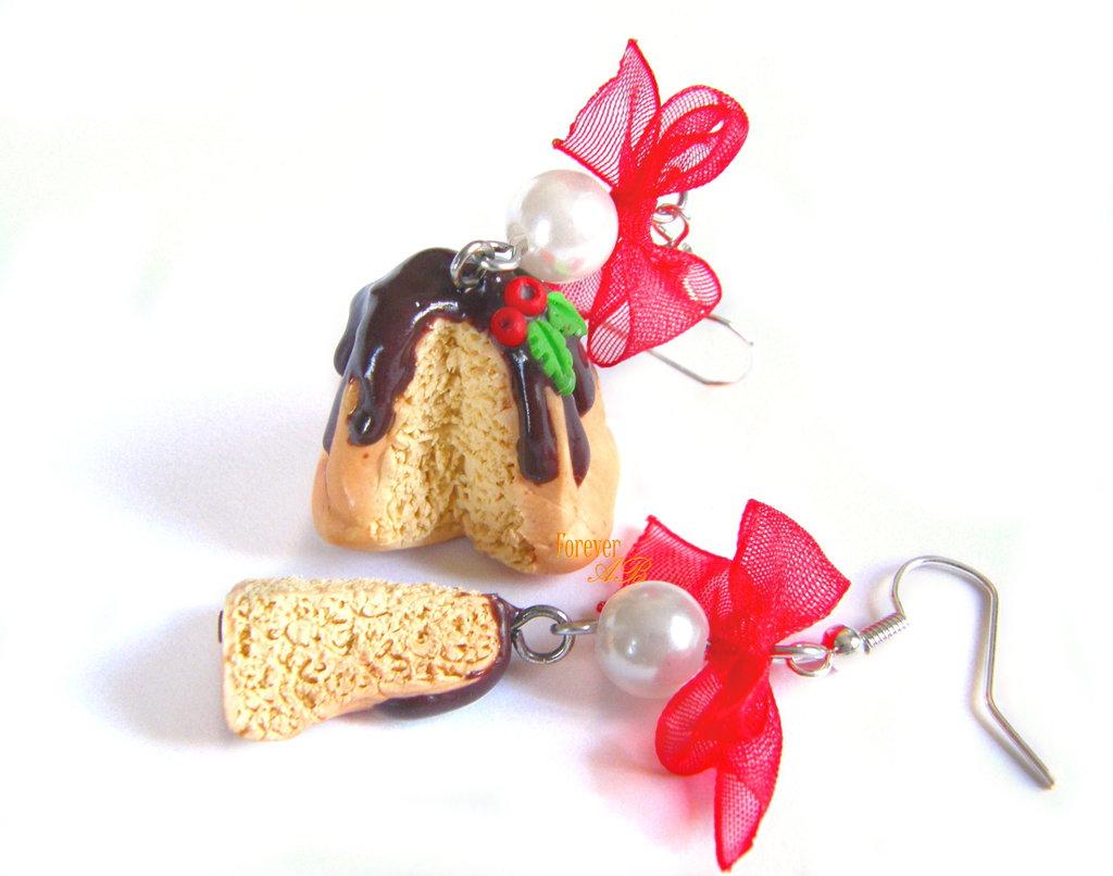 Orecchini Pandoro al cioccolato Natale 2016 natalizi idea regalo fimo