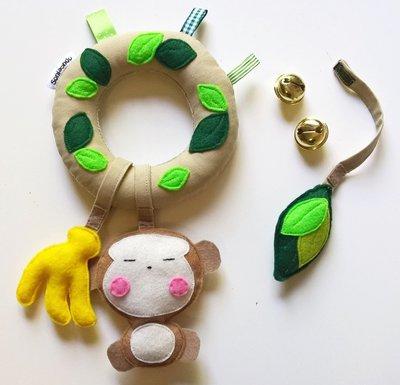 Sonaglio scimmietta in stoffa e feltro