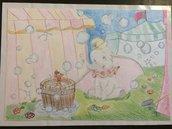 Dumbo in cartoncino ruvido colorato con pastelli