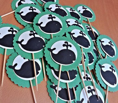 Set di 18 cupcake topper, balena blu su sfondo bianco/tiffany, decorazione per festa, baby shower, compleanni, eventi speciali