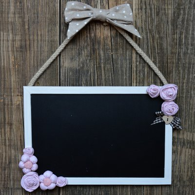 Lavagnetta con roselline in stile shabby chic