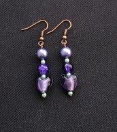 Orecchini perle di Boemia e cuori