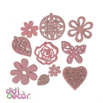 Set 10 forme in legno - Rosa