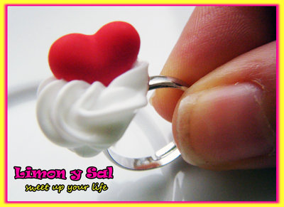 Cute red heart ring polimer clay handmade