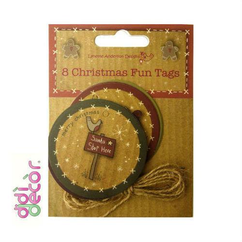 Set 8 etichette natalizie con cordino