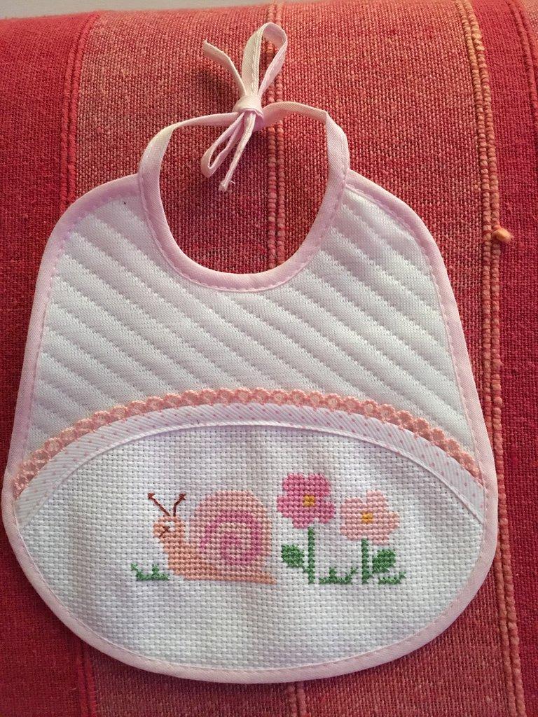 Bien connu Bavaglino rosa con lumachina punto croce - Bambini - Per la pappa  QV46
