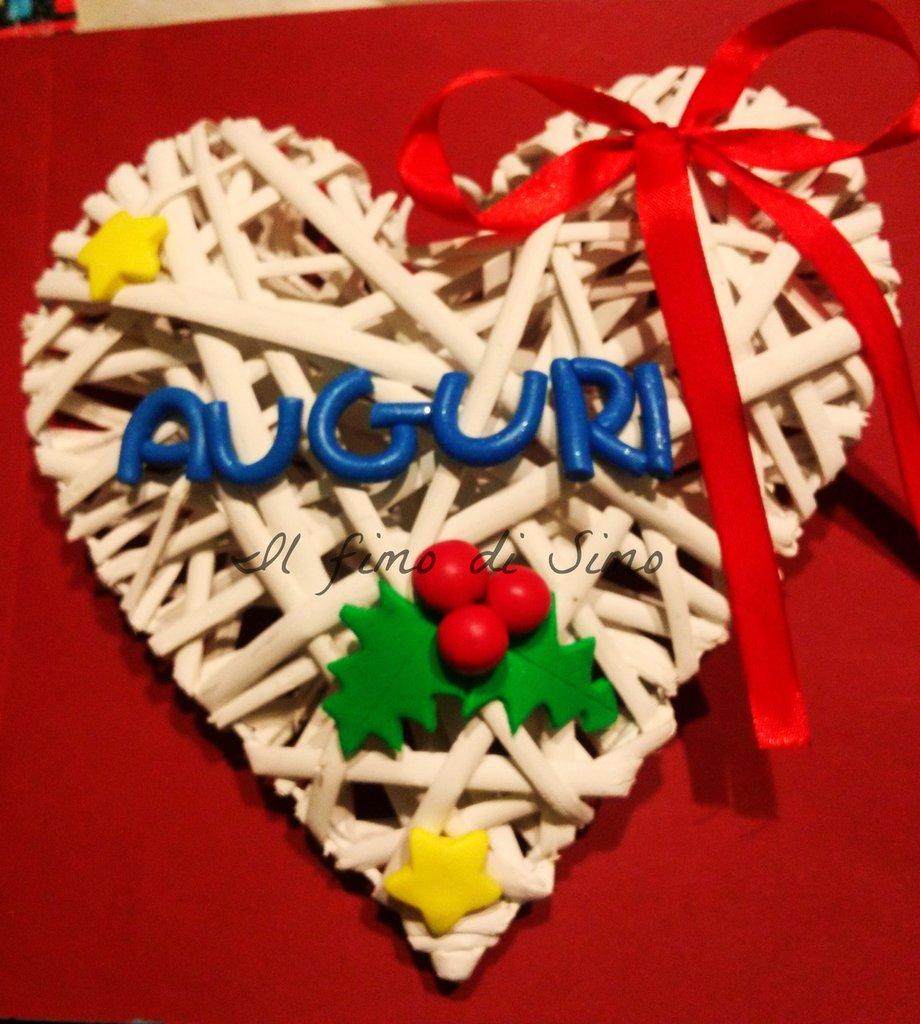 decorazione per porta cuore in legno decorato in pasta polimerica