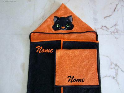 Set accappatoio a mantello + asciugamano mani/viso personalizzato