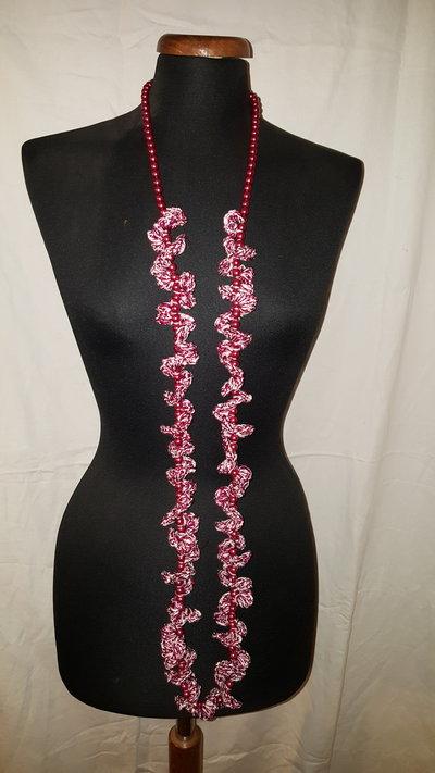collana rosa perle e pizzo cotone