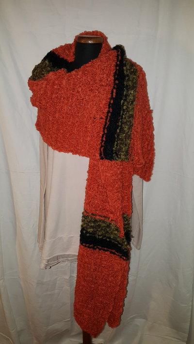 sciarpa a righe arancione e verde melange