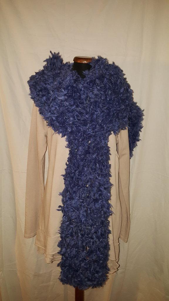 sciarpa azzurra-blu lana pelosa
