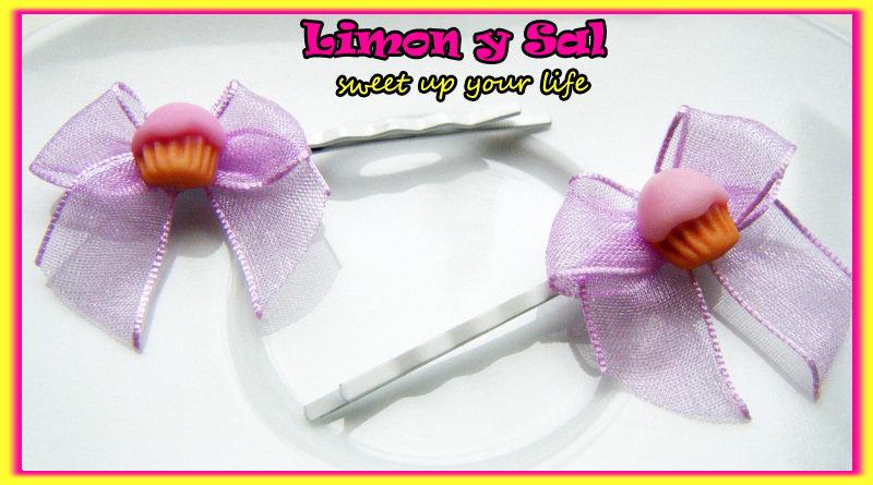 Sweet cupcake hair pins with purple bow handmade kawaii limon y sal