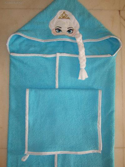 Set accappatoio a mantello FROZEN con treccia 3D + asciugamano mani/viso