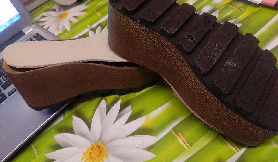 zeppa marrone scuro tacco 7 cm 24,5 n 38