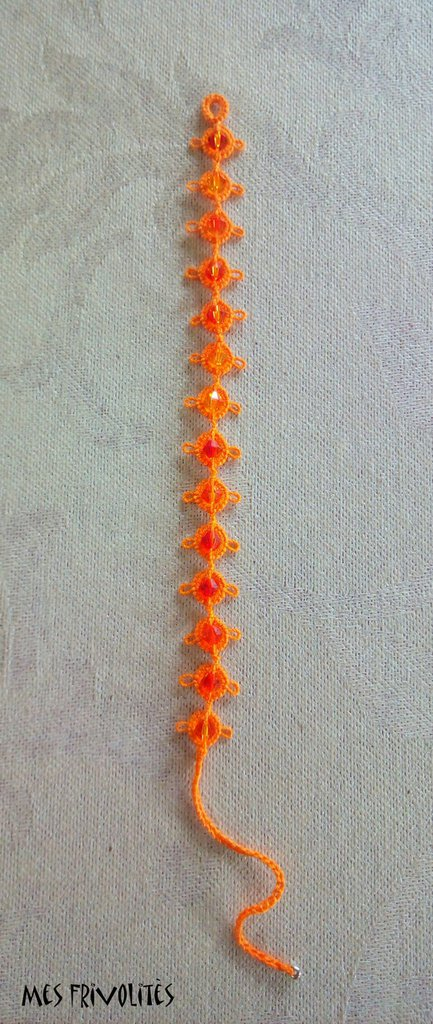 Braccialetto in pizzo chiacchierino Bright Orange con Swarovski BS1BOC