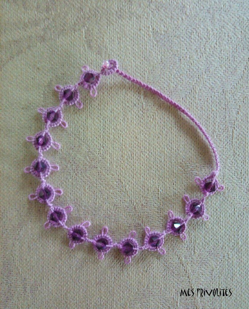 Braccialetto in pizzo chiacchierino Violet/Pink Med. con Swarovski BS1VPMC