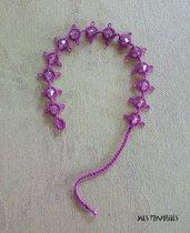 Braccialetto in pizzo chiacchierino Violet/Pink Dark con Swaroski BS1VPDC
