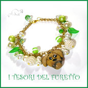"Bracciale Natale * Golden retriever "" Fimo cernit Kawaii idea regalo bambina ragazza donna"
