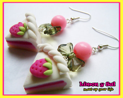 Sweet slice of cake earrings emo gothic