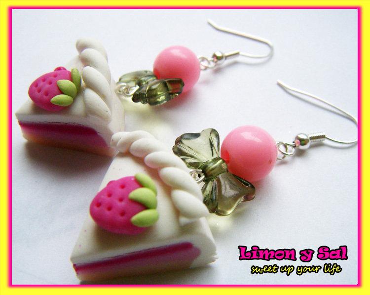 Sweet slice of cake earrings emo gothic