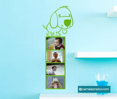 Portafoto cane - adesivo murale per bambini - cornice portafotografie - sticker da parete cameretta