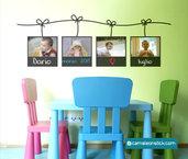 Portafoto lavagna - adesivo murale per bambini - cornice portafotografie - sticker da parete cameretta