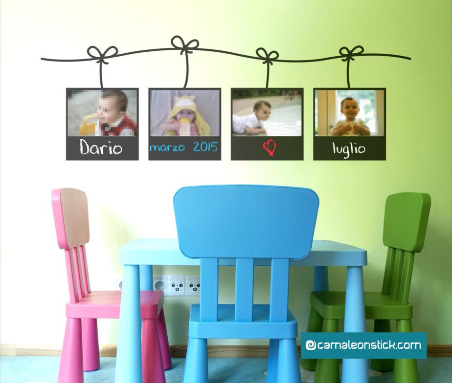 Portafoto lavagna adesivo murale per bambini cornice for Cornice adesiva per pareti