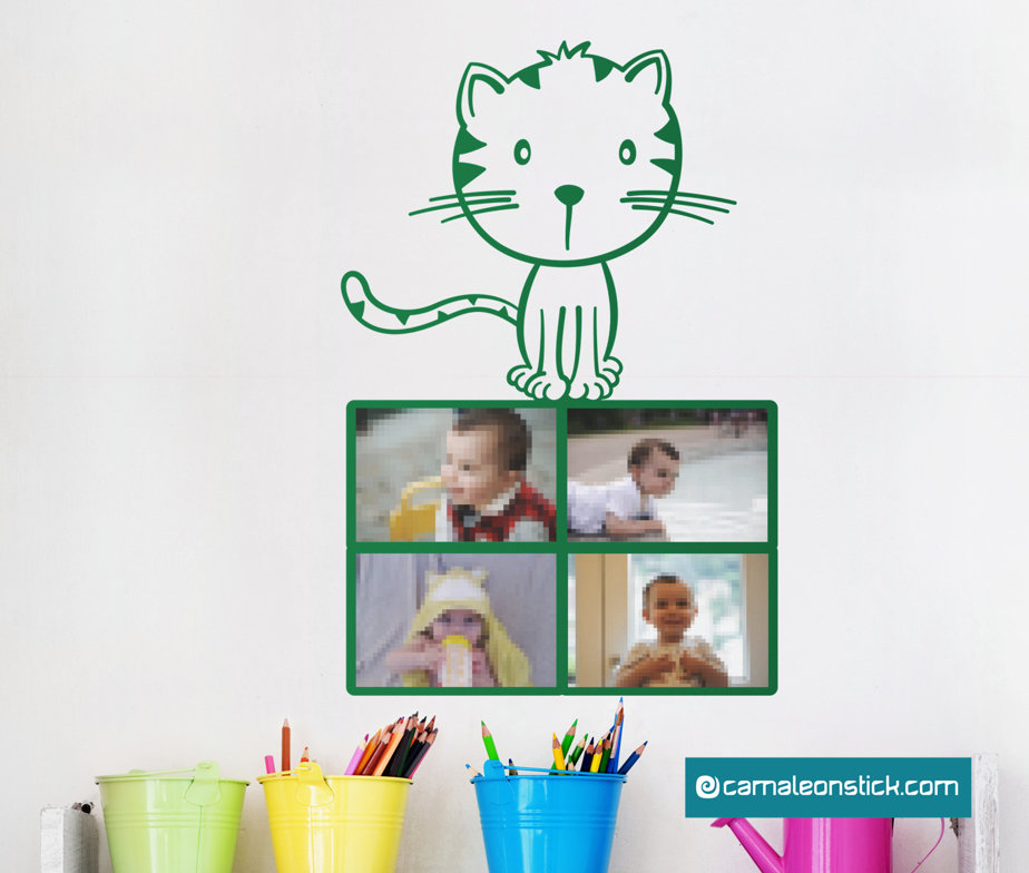 Portafoto gattino - adesivo murale per bambini - cornice portafotografie - sticker da parete cameretta