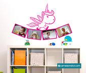 Portafoto unicorno - adesivo murale per bambini - cornice portafotografie - sticker da parete cameretta