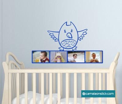 Portafoto gufettto - adesivo murale per bambini - cornice portafotografie - sticker da parete cameretta