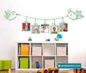 Portafoto colibrì - adesivo murale per bambini - cornice portafotografie - sticker da parete cameretta