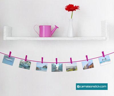 Portafoto mollette - adesivo murale - cornice portafotografie - sticker da parete