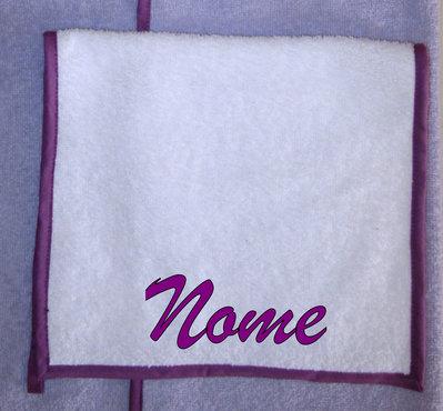 Asciugamano mani/viso personalizzato bianco/ciclamino