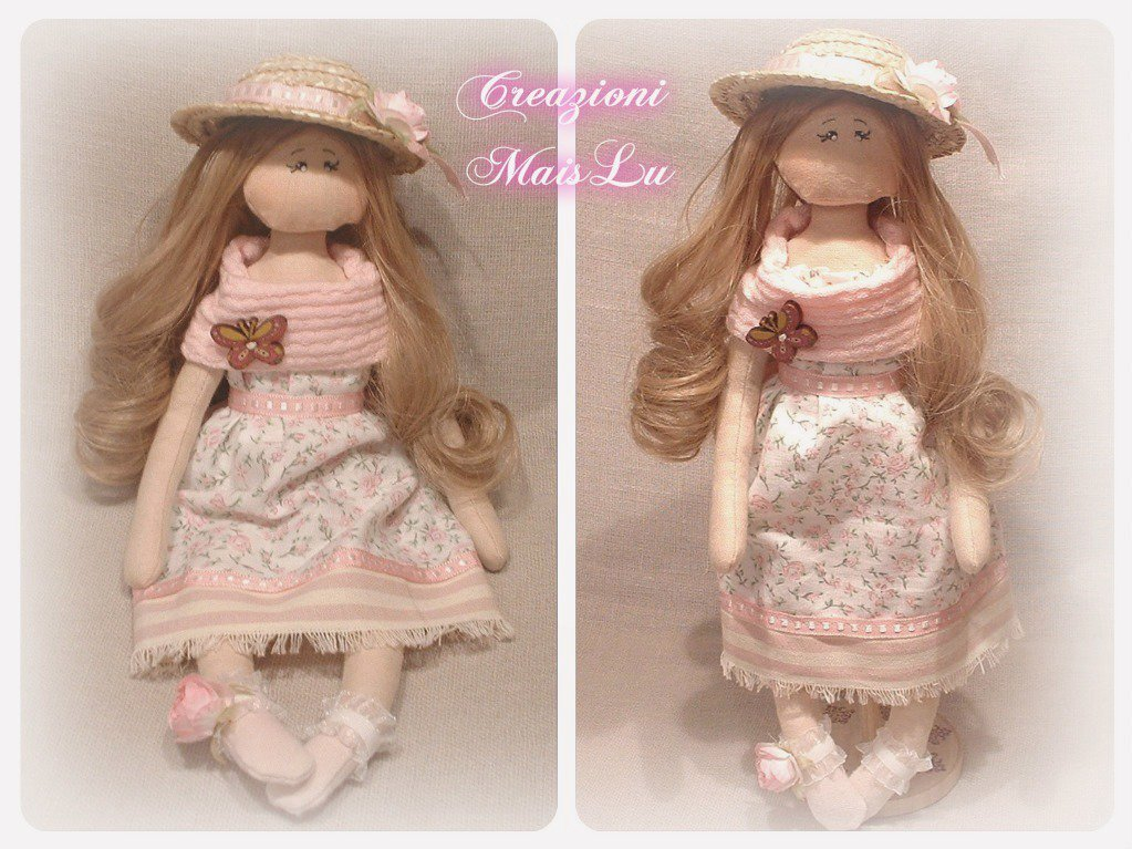 "Cloth Doll MaisLu ""Rose"" - Bambola in stoffa"