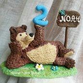 Cake topper compleanno- Orso