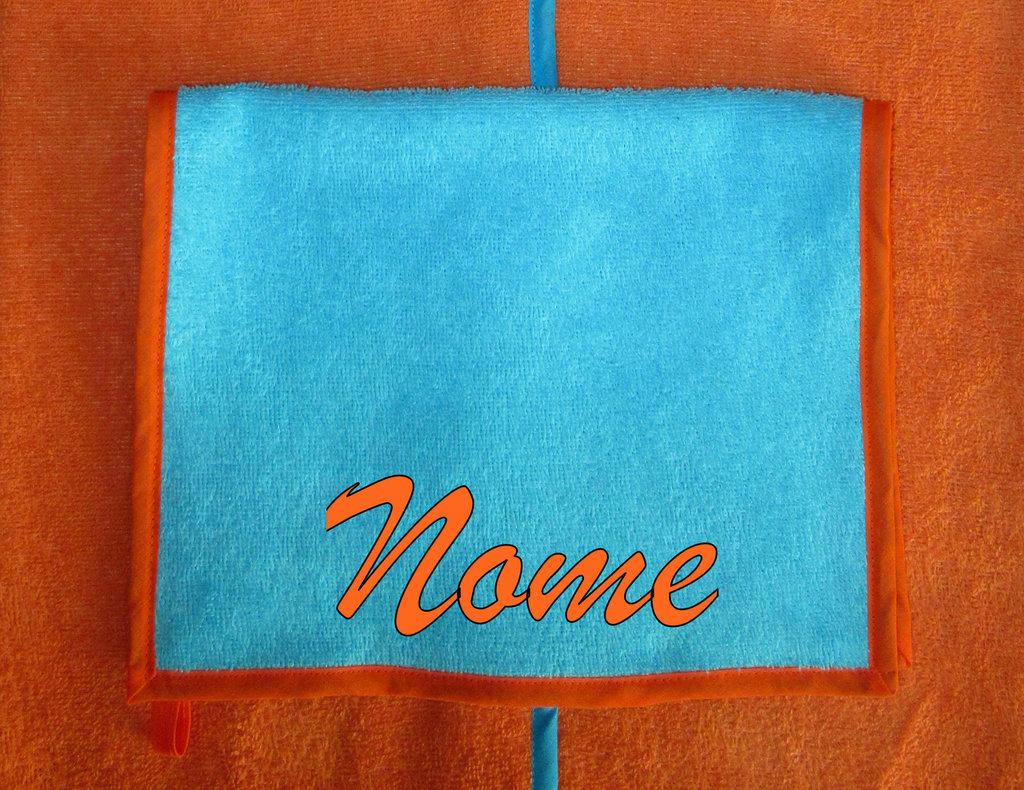 Asciugamano mani/viso personalizzato turchese/arancione