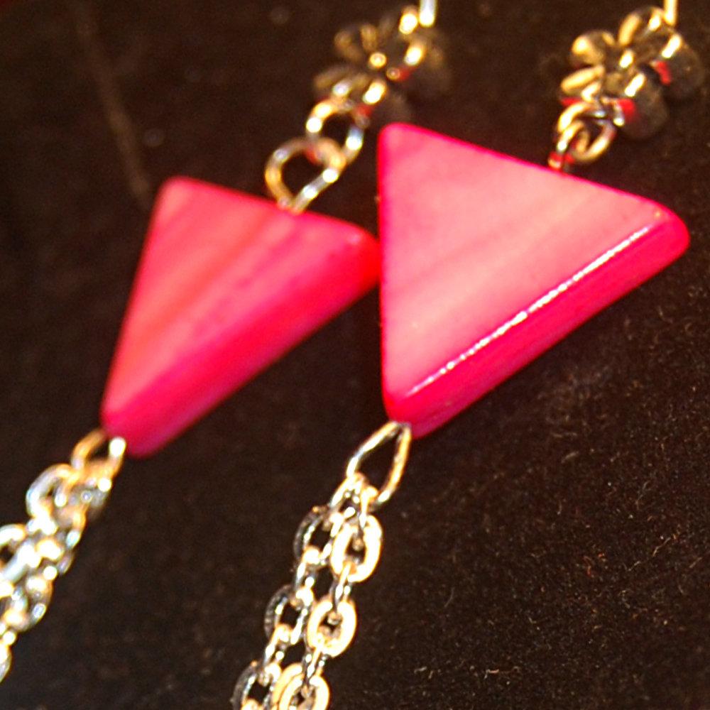 Orecchini Pink Triangle Madreperla Swarovski catenine
