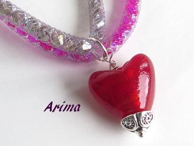 Collana  cuore di Murano   art  53