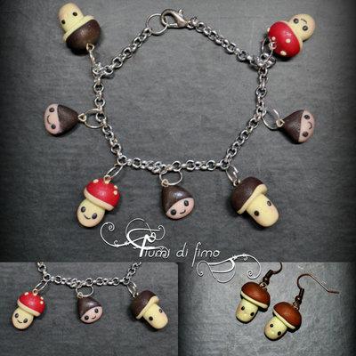 parure fimo| parure autunno| orecchini e bracciale fimo| bracciale fimo| orecchini fimo| orecchini pendenti| bracciale pendenti| castagne e funghetti fimo| gioielli fimo| gioielli autunno