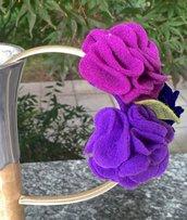 Cerchietto con fiori lilla e viola