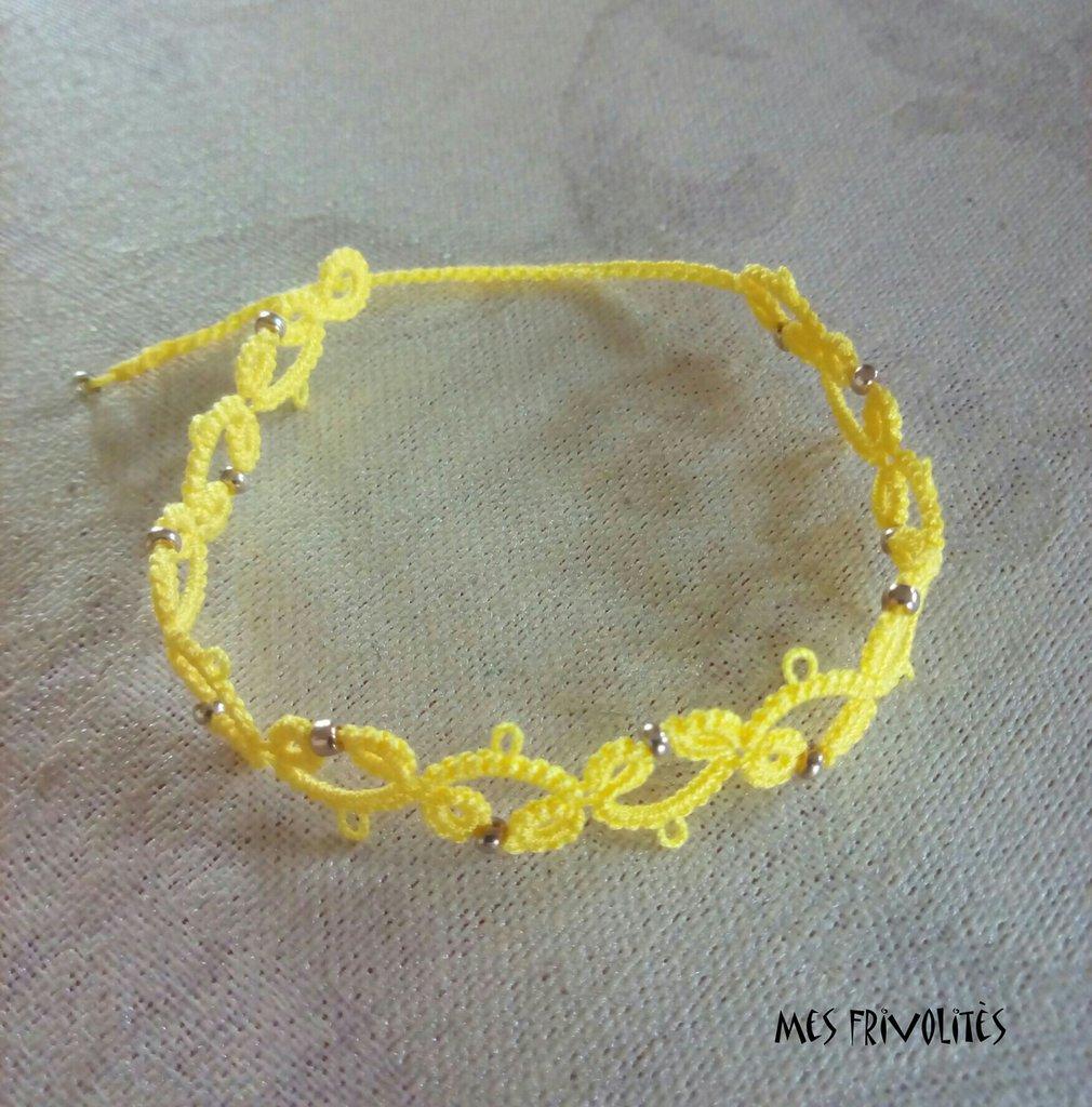Braccialetto in pizzo chiacchierino Bright Yellow con perline BS3BYC