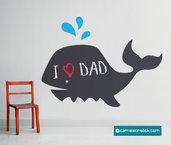Lavagna adesiva Balena - adesivo murale per bambini - lavagna da parete - lavagna sticker  - sticker da parete cameretta