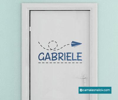 Nome personalizzato cameretta aereo - adesivo murale per bambini - sticker porta cameretta