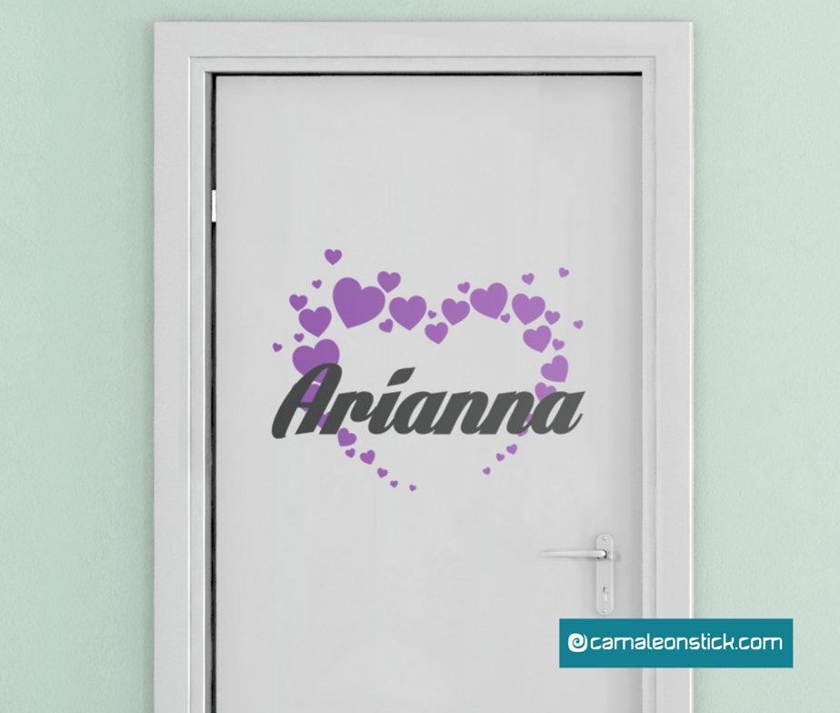 Nome personalizzato cameretta cuoricini  - adesivo murale per bambine - sticker porta cameretta
